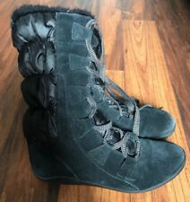 TIMBERLAND Women Knee High Winter Boots Size 9.5 M Black Suede Lace Up