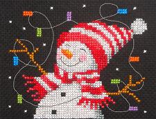 Bonhomme de neige & les lumières de Noël, Noël ~ full Compté Cross Stitch Kit, tous les matériaux