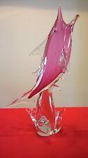 Cristal De Murano Pez Espada estatuilla Licio Zanetti Diseño Mano Tirado 41 Cm Enorme
