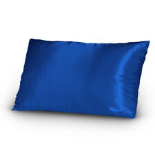 Pair of Satin Lingerie Pillowcases King Size Navy New