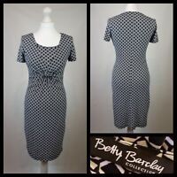 Betty Barclay Collection Black White Front Knot Jersey Dress Geometric Size 10