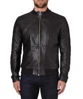 Rochas Mens Leather Jacket Mateo Black Medium