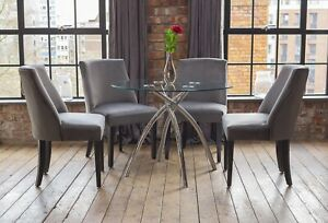 Cecelia Luxury Glass Dining Table Set with 4 Grey Scoop Chairs Round