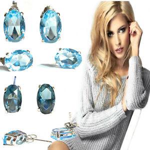 Orecchini acquamarina in argento 925 da donna con cristalli Swarovski ovali