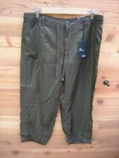 ANA Crop Jogger Pants 12 Olive Green Zip Ankle Slim Fit Drawstring Rayon Poly L