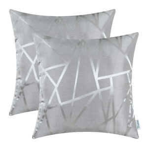 2Pcs Silver Gray Cushions Cover Pillow Shells Lines Geometric Home Decor 45x45cm