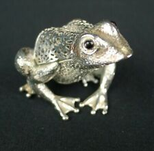 Christofle Pierced Silver Plate Frog Toad Figurine Lumiere D'argent Onyx Eyes