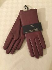 BN Ladies Marks And Spencer Fine Leather Gloves - Damson - Size S - Small