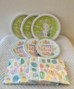 HAPPY EASTER Paper Plates Snack Plates Napkins Service for 30 Dinner Dessert NEW