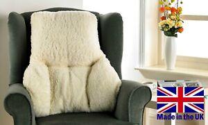 Cream BACK & LUMBAR SUPPORT CUSHION - Yorkshire Faux Sheepskin - MADE IN UK