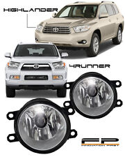 10-13 Toyota 4Runner 08-10 Highlander Clear Replacement Fog Light Housing Pair