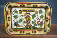 Antique Japanese Geisha&Rooster Lithograph Coffee Set Serving Tray Plate Platter