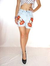Womens Denim Jeans Hot Pants Shorts Embellish Hand Custom High Waist sz S AG29