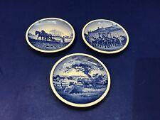 """Lot of 3 Denmark Miniature Plates Butter Pats 3 1/4"""" Blue Dansk 64 69 76 2010"""