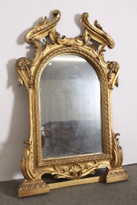 Antica specchiera foglia oro 1850 Luigi Filippo con cimasa lavorata . Specchio o
