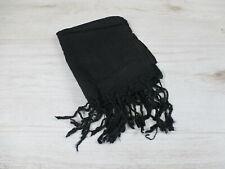 Tuch einfarbig schwarz 100% Baumwolle Schal / Stola mit Fransen mehr / NEU
