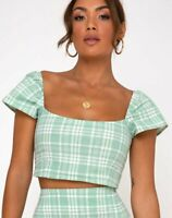 MOTEL ROCKS  Cindy Crop Top in Table Cloth Neo Mint  (mr15)
