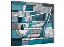 Teal Grey Painting Kitchen Canvas Wall Accessories - Abstract 1s402s - 49cm