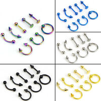Mixed 8x 16G Stainless Steel Helix Piercing Jewelry Ear EyebroCYB