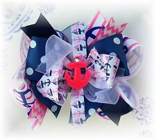 Anchor Sailor Hot Pink Navy White 5 -5 1/2 Inch Custom Boutique Hair bow