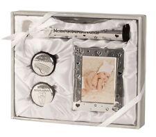 Baby Set silber  Michzahn Haardöschen Fotorahmen Taufe Geburt Geschenkset