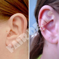 Extra Thin 0.5mm 316L Steel Silver Cartilage Tragus Helix Ear Nose Hoop Ring