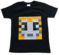 Boys Girls StampyLongNose Mr Stampy You Tube T Shirt BLACK PIXEL 7 TO 12 Years