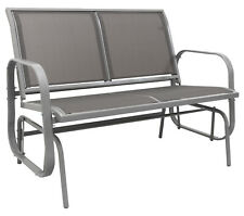 More details for woodside grey 2 seater garden glider bench, outdoor rocking swing seat