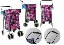 Shopping Trolley 6 wheel Premium Cart Grocery Folding Market Laundry