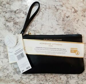 NWT Adrienne Vittadini Black  Faux Leather Charging Wallet W/ RFID Protection