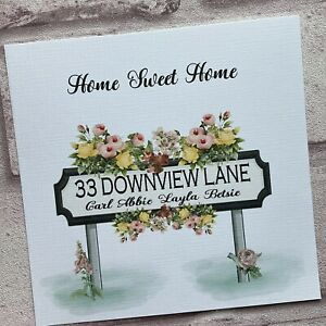 PERSONALISED Handmade NEW HOME CARD Floral Road Sign