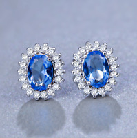 Solid 925 Sterling Silver Light Blue Sapphire Cut CZ Stud Earrings Jewellery