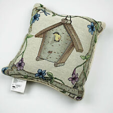 A Safe Place Finch Bird in Birdhouse Flowers Tapestry Square Pillow So Cute!