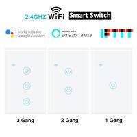 1/2/3/4 Gang Smart WiFi Light Wall Switch Touch Panel Alexa Google Home IFTTT