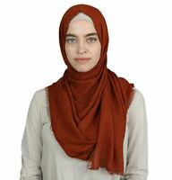 Turkish Islamic Women's Pom Pom Crepe Hijab Shawl Wrap Scarf Burnt Orange