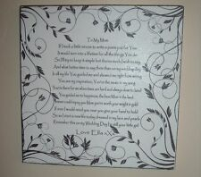 shabby vintage chic wedding mother of the bride poem thank you sign plaque