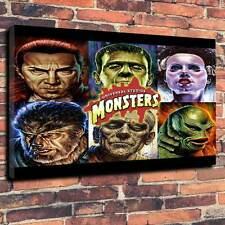 "Classic Horror Universal Monsters Printed Canvas A1.30""x20""~Deep 30mm Frame"