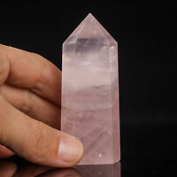 98g 80mm Natural Pink Rose Quartz Crystal Point/Tower Healing Obelisk Wand