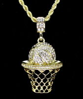 "Basketball Pendant 14k Gold Plated 24"" Rope Necklace Hip Hop"