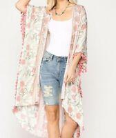 New Gigio By Umgee Kimono L Large Pink Floral Fringe Prairie Boho Cottagecore
