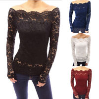 Womens Off Shoulder Lace Bardot Tops Party Club T Shirt Tee Sexy Ladies Blouse