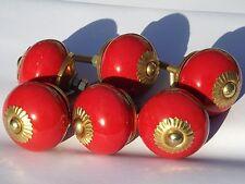 6x Rojo Redondo Con Latón Montaje Porcelana Cerámica Armario POMOS