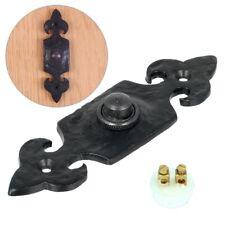 """LARGE 5"""" BLACK ANTIQUE DOOR BELL BUTTON Front Home Fleur-De-Lys Press Push Plate"""