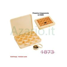 Box in plastica con finestrella set da 12 scatoline tonde scatola archiviazione