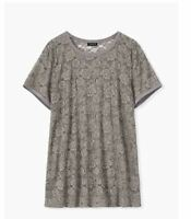 TORRID *SEE THROUGH* GRAY LACE TOP SHIRT TEE GREY 3 3X 22 24 NWTS
