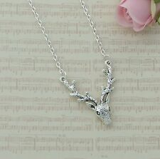 Silver Plated Necklace with Wildlife Deer Head and Antlers Connector Pendant