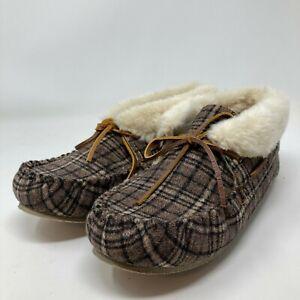 New Womens Minnetonka Brown Plaid Chrissy Moccasin Bootie Slippers Sz 10 Slip On