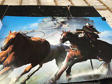 Cowboy wild mustang roping lasso 1994 Arti Grafiche vintage wall poster PBX3129