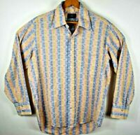 Penney's Towncraft Tapered Vintage 70s Geometric Disco Button Front Shirt Mens L