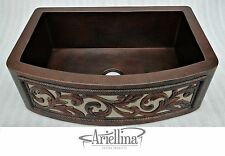 "36"" Ariellina Farmhouse 14 Gauge Copper Kitchen Sink Life Warranty New AC1921"